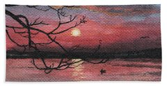 Sunset On The Lake Hand Towel