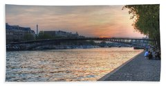 Hand Towel featuring the photograph Sunset On The Seine by Jennifer Ancker