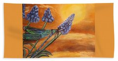 Summer Sunset Over A Dragonfly Bath Towel by Kimberlee Baxter