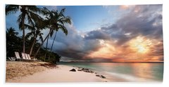 Sunset Over Bacardi Island Hand Towel by Mihai Andritoiu