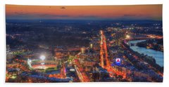 Sunset Over Fenway Park And The Citgo Sign Bath Towel by Joann Vitali