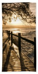 Sunset Over Ocean Walkway Hand Towel