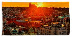 Sunset Over Prague Bath Towel