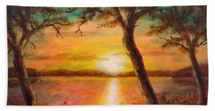 Sunset Over The Lake Bath Towel by Martin Capek