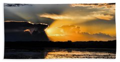 Sunset Over The Mead Wildlife Area Bath Towel