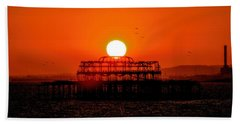 Sunset Over The Remains Of The West Pier Hand Towel