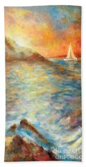 Sunset Over The Sea. Bath Towel