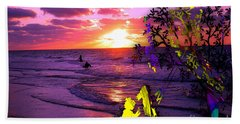 Sunset Over The Water While Children Play Hand Towel
