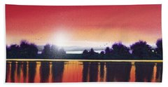 Sunset Over Two Lakes Bath Towel