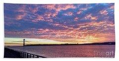 Sunset Over Verrazano Bridge And Narrows Waterway Bath Towel by John Telfer