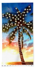 Sunset Palm Tree With Xmas Lights Stamp Bath Towel