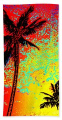 Hand Towel featuring the photograph Sunset Palms by David Lawson