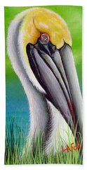 Sunset Pelican Hand Towel