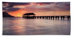 Sunset Pier Bath Towel by Mike  Dawson