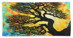 Bath Towel featuring the painting Sunset Pine by Jane Girardot