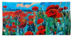 Hand Towel featuring the painting Sunset Poppies by Ana Maria Edulescu