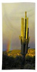 Hand Towel featuring the photograph Sunset Rainbow Cactus by John Haldane