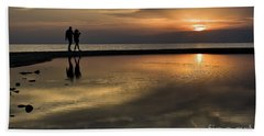 Sunset Reflection And Silhouettes Hand Towel