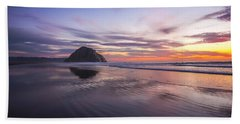 Sunset Reflections At Morro Bay Beach Rock Fine Art Photography Print Bath Towel by Jerry Cowart