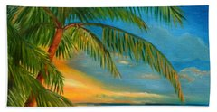 Hand Towel featuring the painting Sunset Reflections - Key West Sunset And Palm Trees by Shelia Kempf