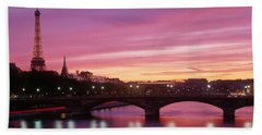 Sunset, Romantic City, Eiffel Tower Bath Towel