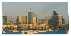 Sunset, San Diego Harbor, California Hand Towel