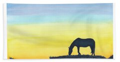 Bath Towel featuring the painting Sunset Silhouette by C Sitton