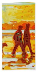 Sunset Silhouette Carmel Beach With Dog Bath Towel by Thomas Bertram POOLE