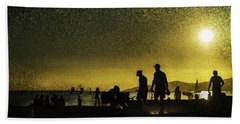 Bath Towel featuring the photograph Sunset Silhouette Of People At The Beach by Peter v Quenter