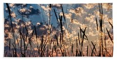 Hand Towel featuring the photograph Sunset Through The Grasses by Don Schwartz