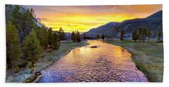 Sunset Yellowstone National Park Madison River Hand Towel