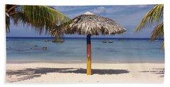 Sunshade On The Beach, La Boca, Cuba Hand Towel