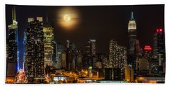 Super Moon Over Nyc Hand Towel by Susan Candelario