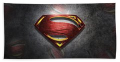 Superman Man Of Steel Digital Artwork Bath Towel by Georgeta Blanaru