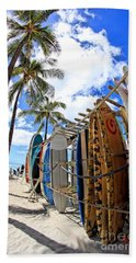 Surf And Sun Waikiki Bath Towel by DJ Florek