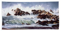Surf At Lincoln City Hand Towel