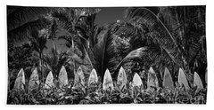 Surf Board Fence Maui Hawaii Black And White Bath Towel