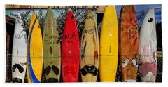 Surf Board Fence Maui Hawaii Hand Towel by Edward Fielding