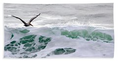 Bath Towel featuring the photograph Surf N Pelican by AJ  Schibig