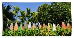 Surfboard Fence - Left Side Hand Towel by Paulette B Wright
