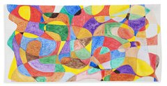 Hand Towel featuring the painting Abstract Dance Party  by Stormm Bradshaw