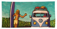 Surfer Girl And Vw Bus Hand Towel