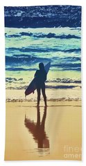 Surfer Girl Hand Towel by Andrea Auletta