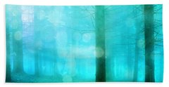 Surreal Dreamy Fantasy Bokeh Aqua Teal Turquoise Woodlands Trees  Hand Towel