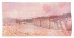 Surreal Dreamy Pink Coastal Summer Beach Ocean With Balloons Hand Towel