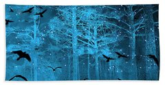 Surreal Fantasy Blue Woodlands Ravens And Stars - Fairytale Fantasy Blue Nature With Flying Ravens Bath Towel