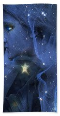 Surreal Fantasy Celestial Blue Angelic Face With Stars Hand Towel