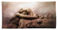 Surreal Gothic Sad Angel Female Cemetery Mourner At Rose Casket Coffin - Haunting Surreal Grave Art Bath Towel