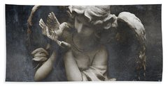 Ethereal Guardian Angel With Dove Of Peace Hand Towel