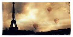 Paris Eiffel Tower Storm Clouds Sunset Sepia Hot Air Balloons Hand Towel